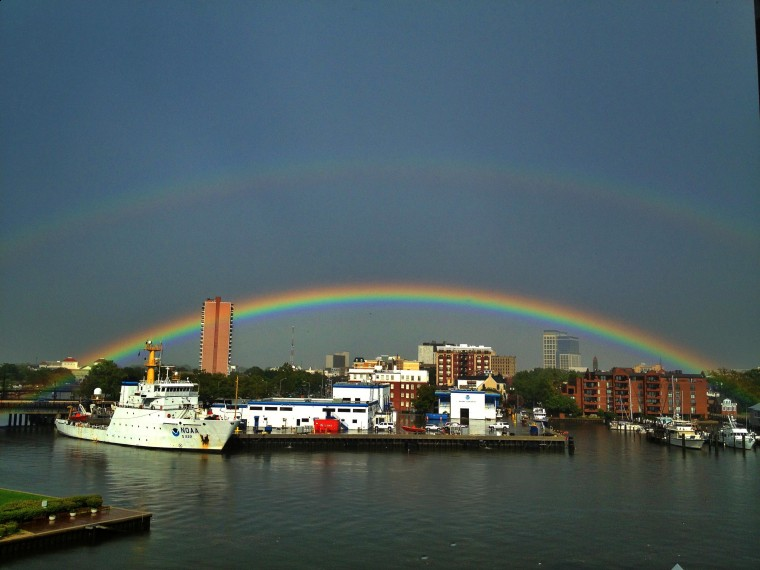 A Strong Afternoon Shower Casts A Rainbow Over Norfolk On Saturday Aug 10 2013 Hyunsoo Leo