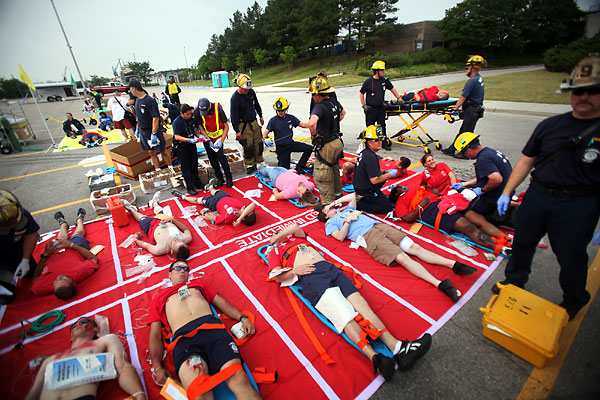 Disaster Drill for Office Workers in Norfolk