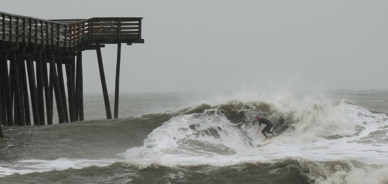 Photos sandy hits hampton roads eastern shore for Surf fishing virginia beach