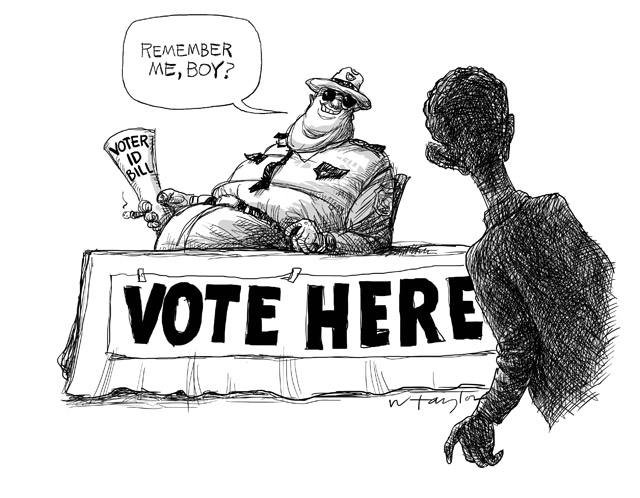 Southern lawman with Voter ID bill to black voter:  Remember me, boty?