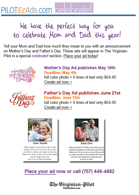 The Virginian-Pilot celebrate! Mother's and Father's Day Ads