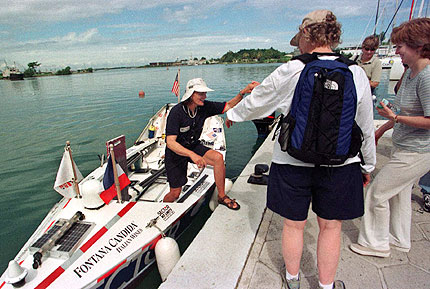 Tori Murden sets foot on dry land in Guadeloupe, in the Leeward Islands,  after becoming the first American and the first woman to row across the Atlantic. It was her second effort to accomplish the feat.