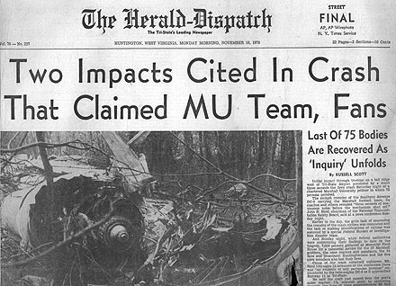 crash of a chartered DC-9 that killed 75 including the Marshall